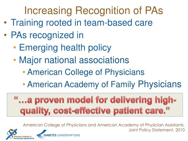 Increasing Recognition of PAs