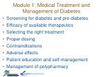module 1 medical treatment and management of diabetes