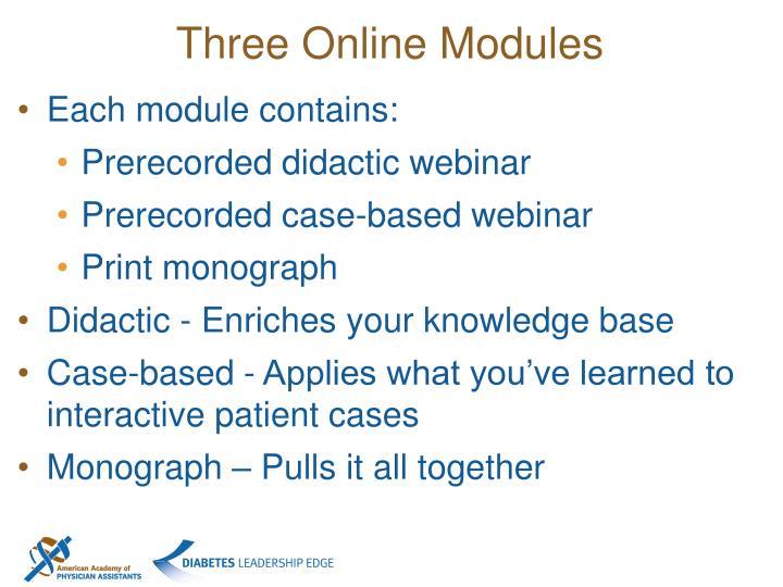 Three Online Modules