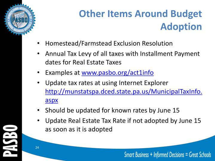 Other Items Around Budget Adoption