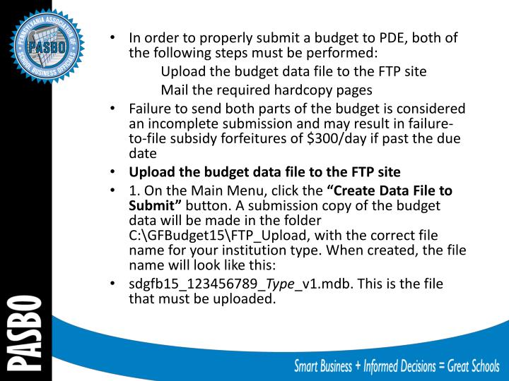 In order to properly submit a budget to PDE, both of the following steps must be performed: