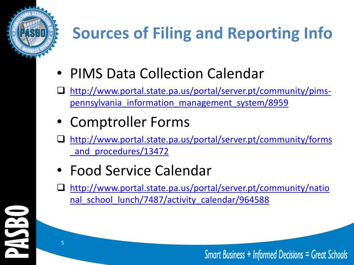 Sources of Filing and Reporting Info