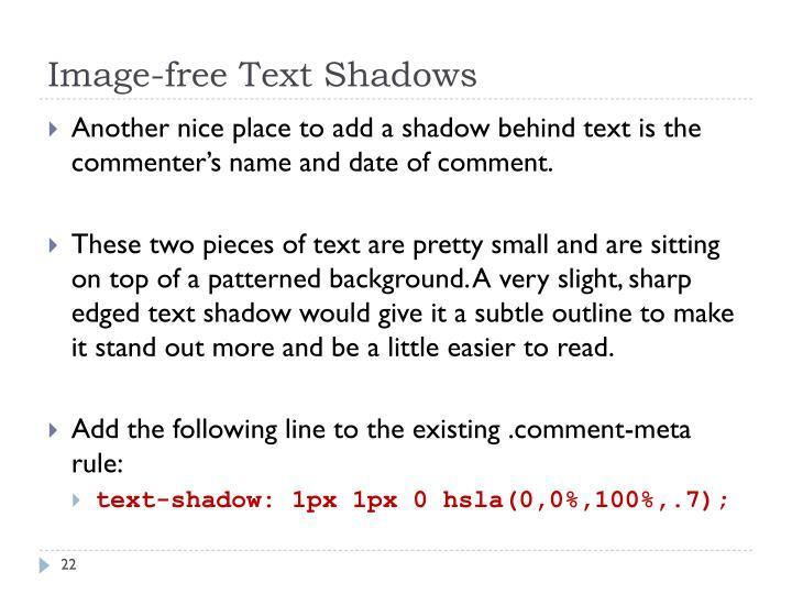 Image-free Text Shadows