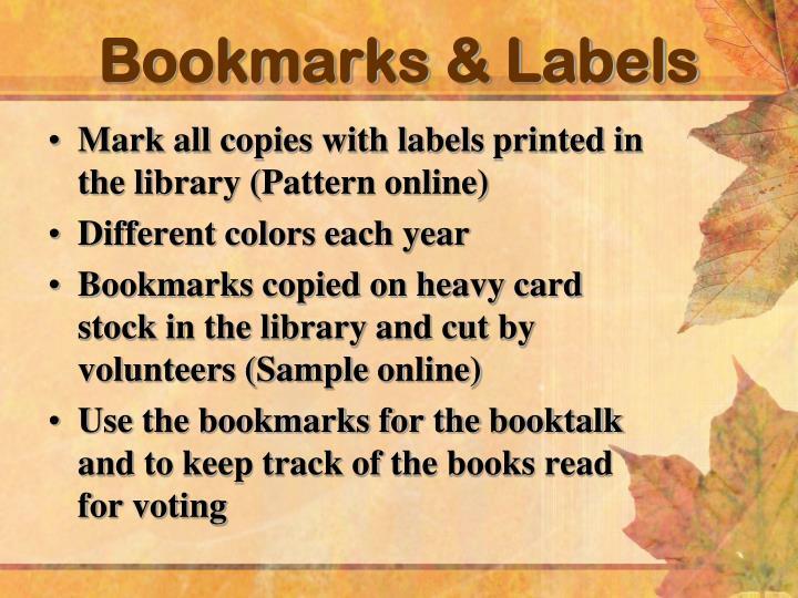 Bookmarks & Labels