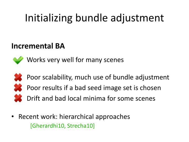 Initializing bundle adjustment
