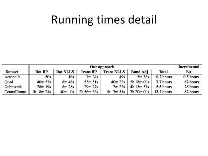Running times detail