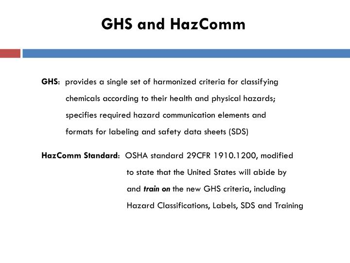 Ghs and hazcomm