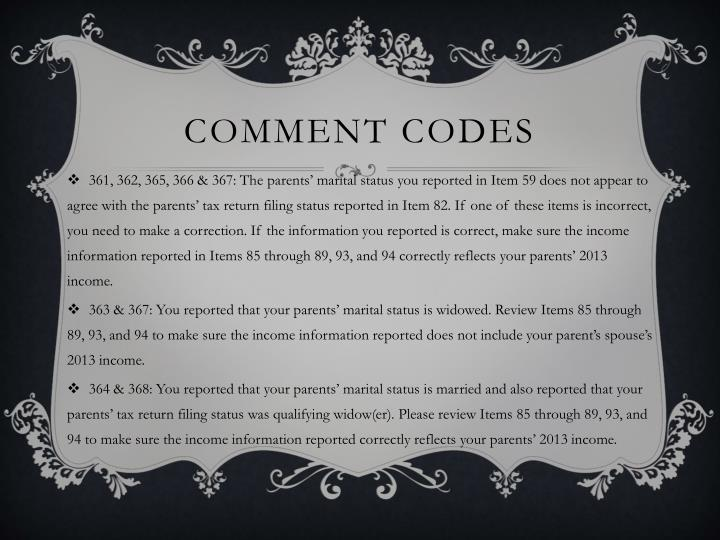 Comment Codes