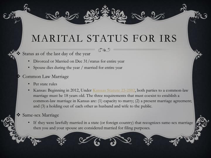 Marital Status for IRS