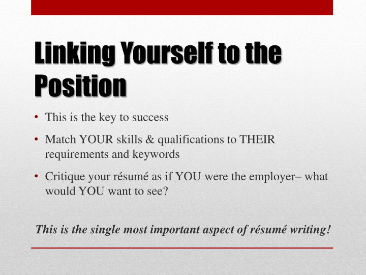 Linking Yourself to the Position