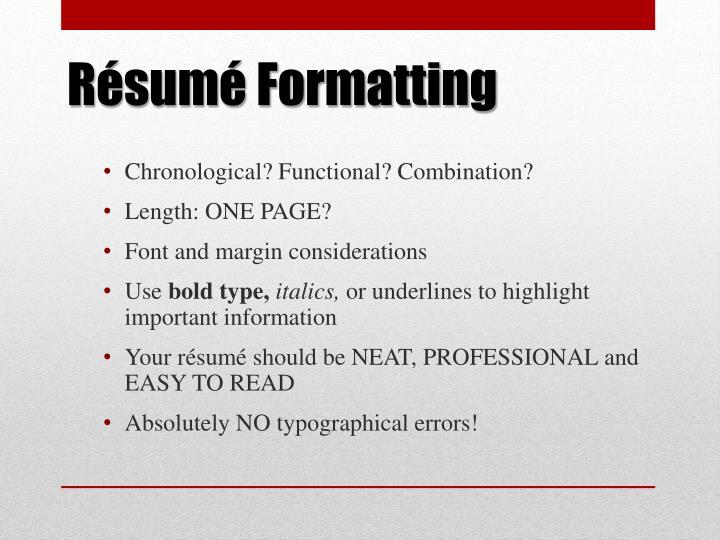 Résumé Formatting