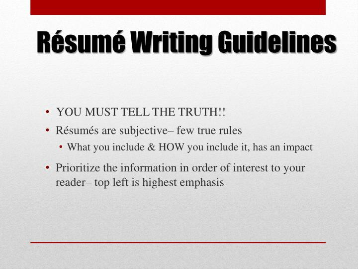 Résumé Writing Guidelines