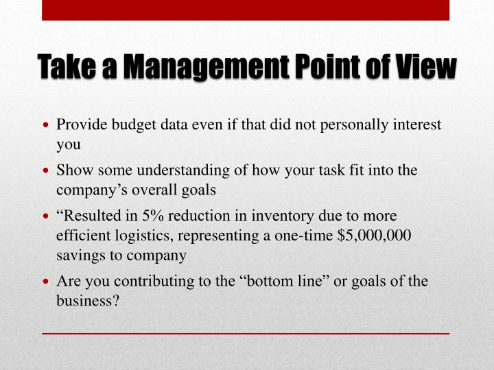 Take a Management Point of View