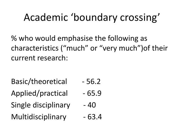 Academic 'boundary crossing'