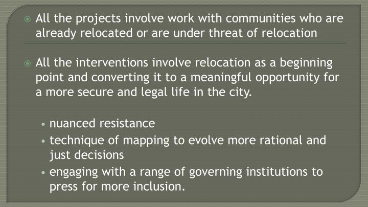 All the projects involve work with communities who are already relocated or are under threat of relocation