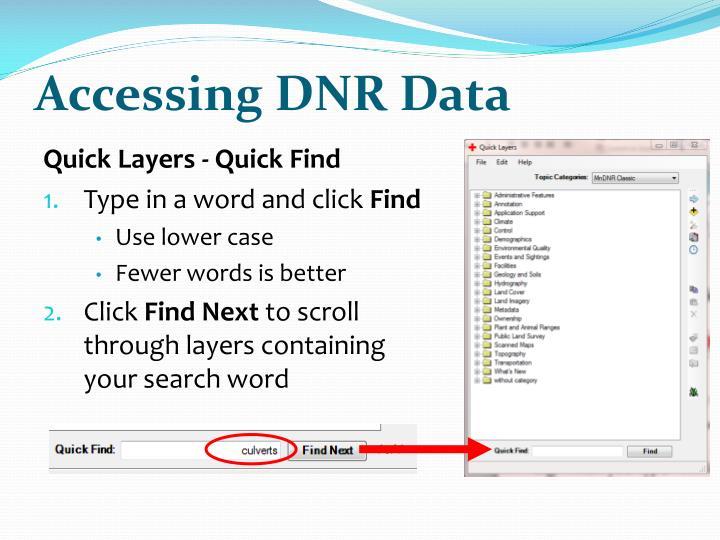 Accessing DNR Data