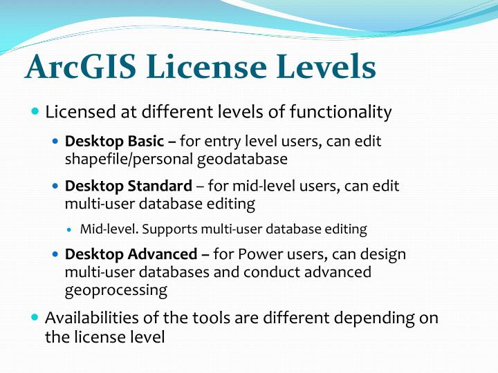 ArcGIS License Levels