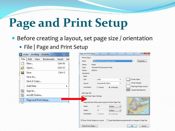 Page and Print Setup