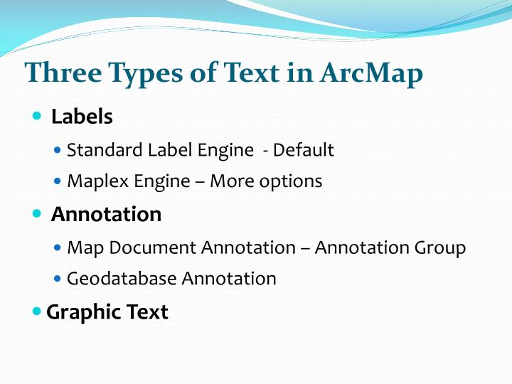 Three Types of Text in ArcMap