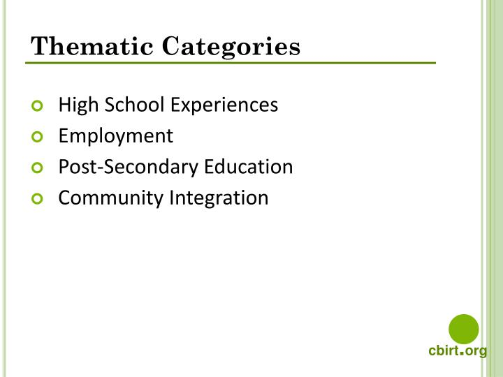 Thematic Categories