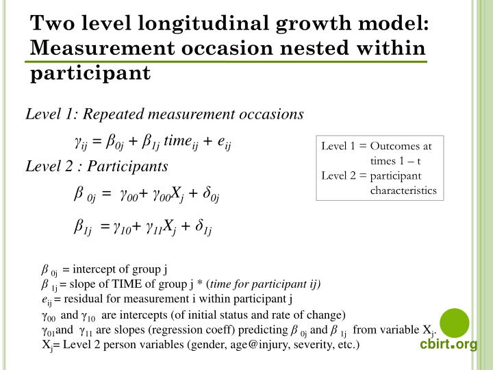 Two level longitudinal growth model: