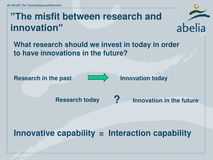 The misfit between research and innovation