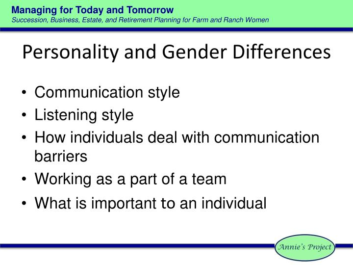 Personality and Gender Differences