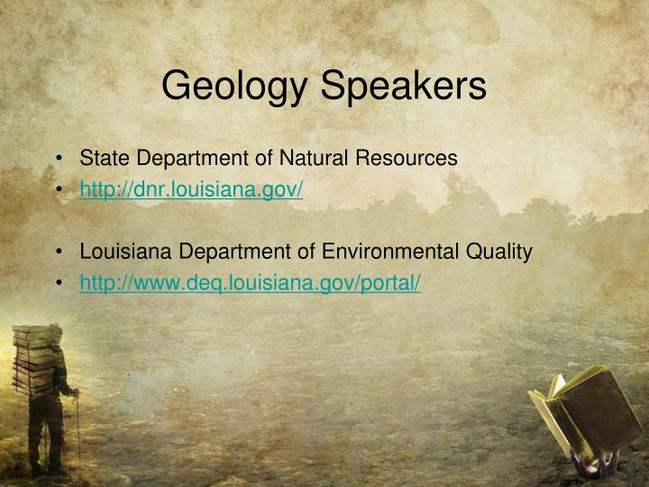 Geology Speakers