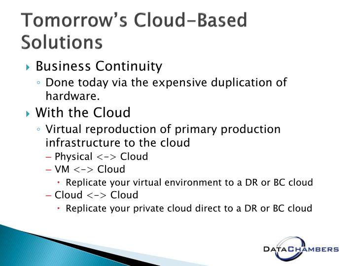 Tomorrow's Cloud-Based Solutions