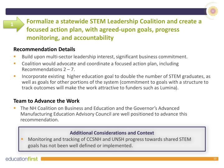 Formalize a statewide STEM Leadership Coalition and create a focused action plan, with agreed-upon goals, progress monitoring, and accountability