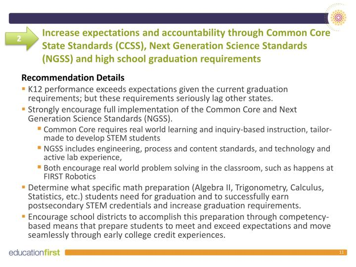 Increase expectations and accountability through Common Core State Standards (CCSS), Next Generation Science Standards (NGSS) and high school graduation requirements