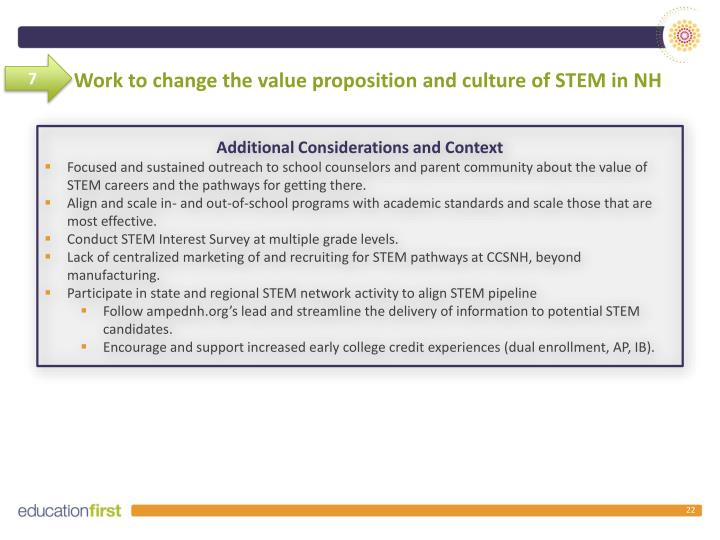 Work to change the value proposition and culture of STEM in NH