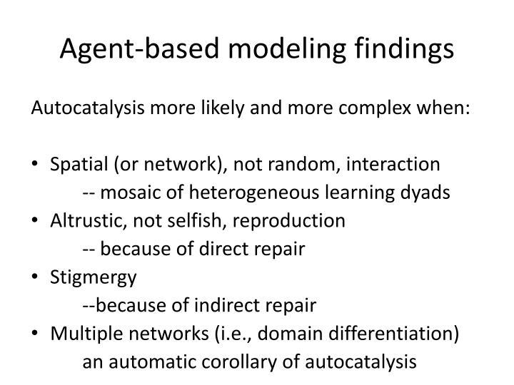 Agent-based modeling findings