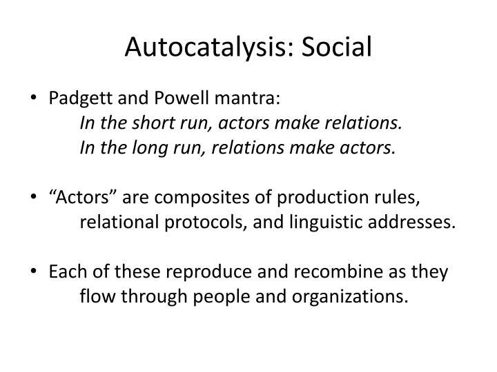 Autocatalysis: Social