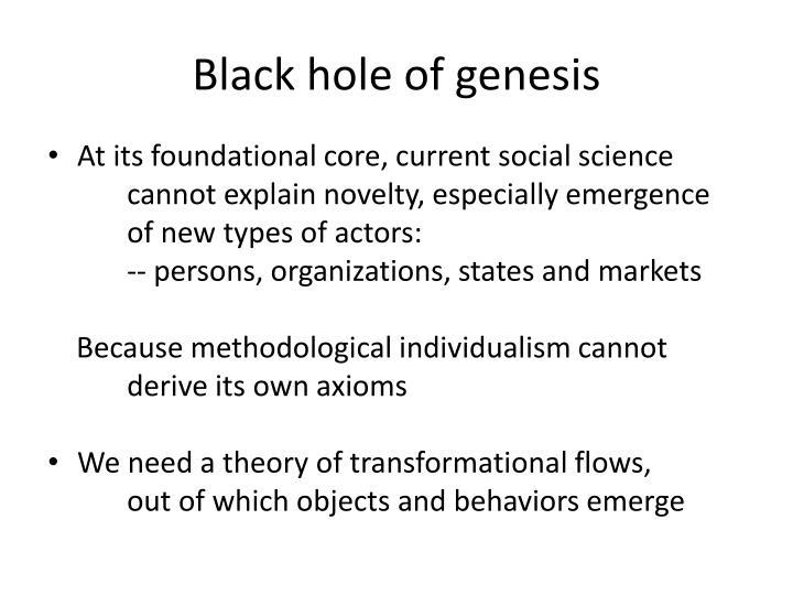 Black hole of genesis