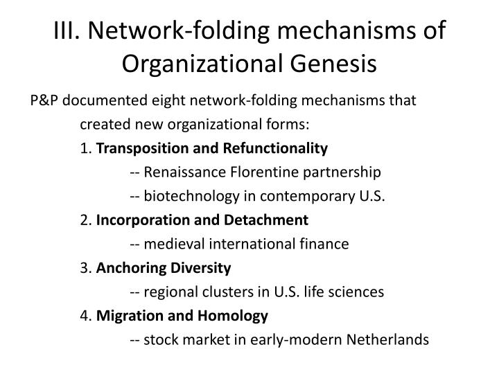 III. Network-folding mechanisms of Organizational Genesis