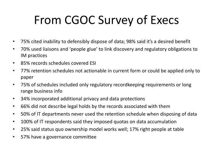 From CGOC Survey of Execs