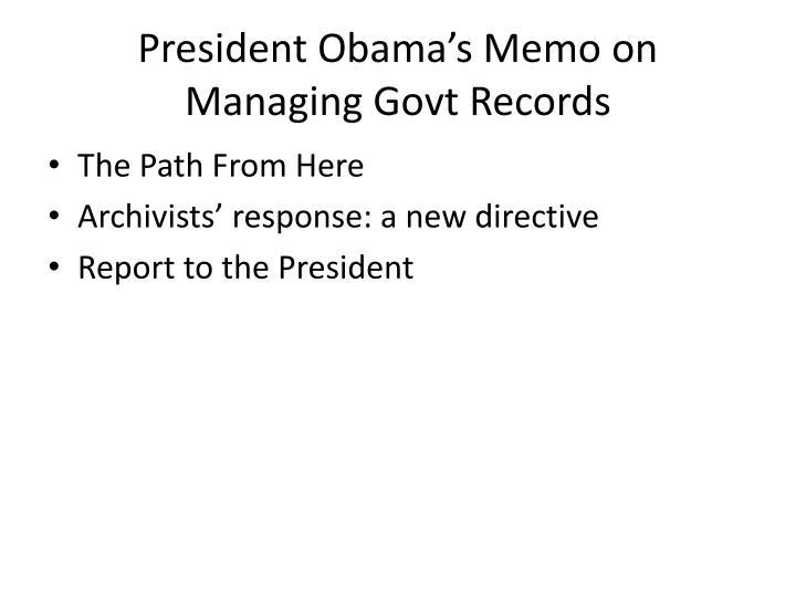 President Obama's Memo on Managing