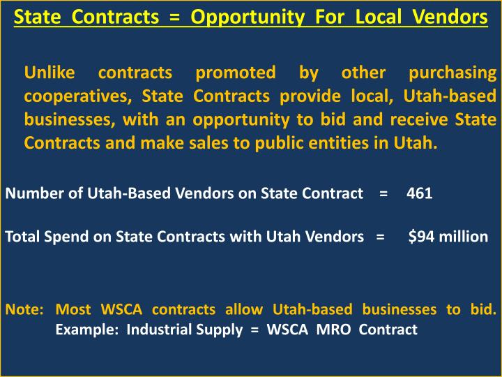 State  Contracts  =  Opportunity  For  Local  Vendors