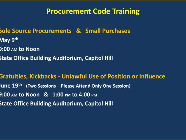 Procurement Code Training