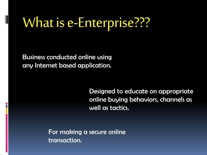 What is e-Enterprise???
