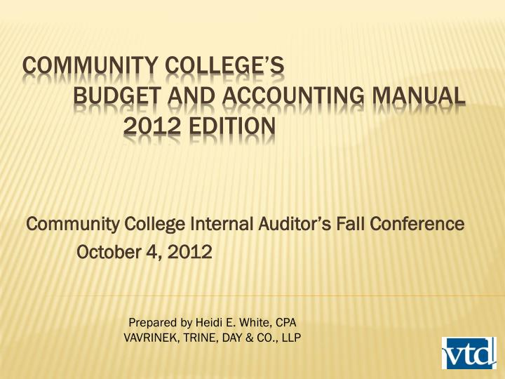 Community college internal auditor s fall conference october 4 2012