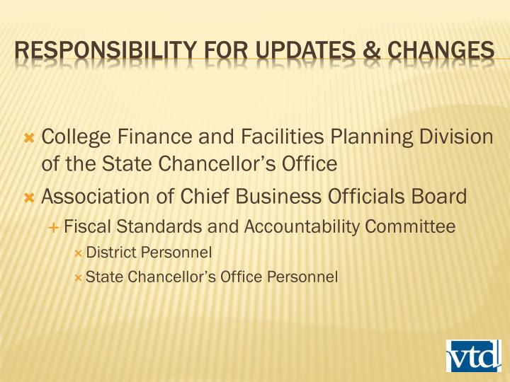 College Finance and Facilities Planning Division of the State Chancellor's Office