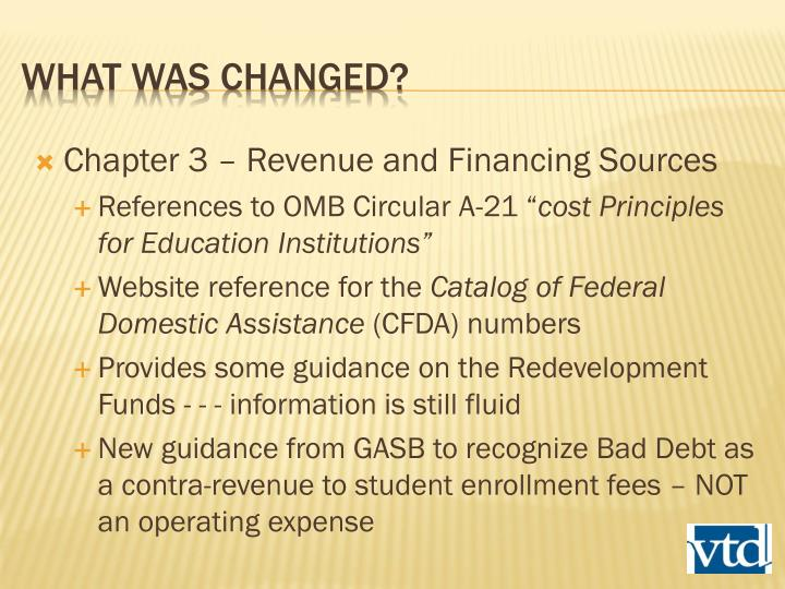 Chapter 3 – Revenue and Financing Sources