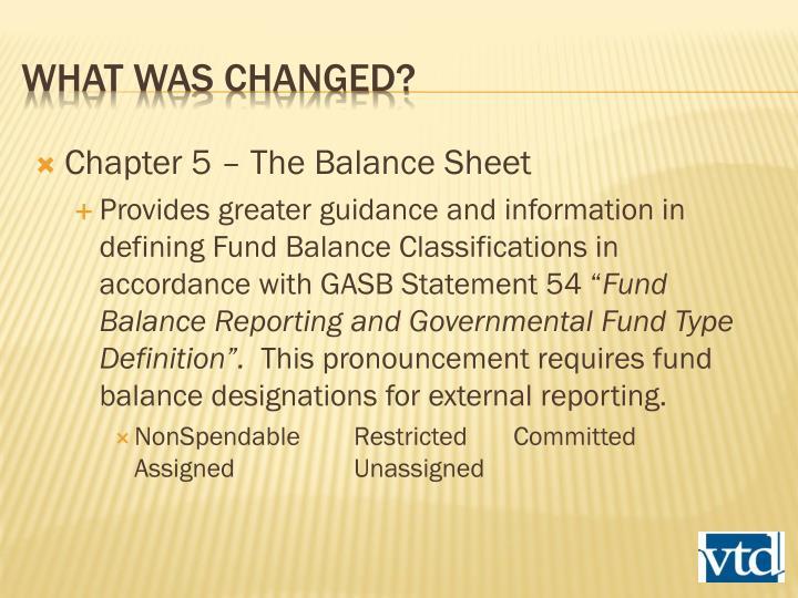Chapter 5 – The Balance Sheet