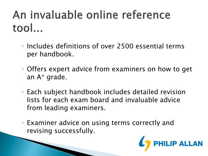 An invaluable online reference tool...