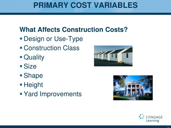 PRIMARY COST VARIABLES