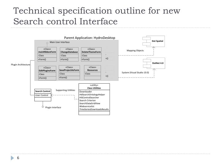 Technical specification outline for new Search control Interface