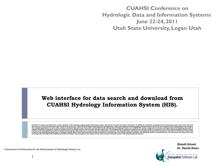 Web interface for data search and download from cuahsi hydrology information system his