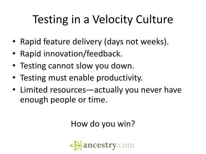 Testing in a Velocity Culture